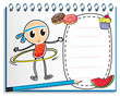 A notebook with a sketch of a young child with a hula hoop