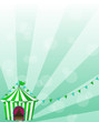 A green circus tent in a wallpaper design
