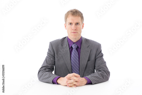 a young businessman on white background