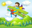 A young man riding in a colorful plane