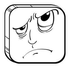 An angry face in a cube