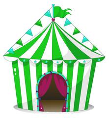 A green circus tent