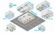 Public building isometric interior cutaway - 51317645