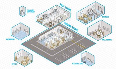 Public building isometric interior cutaway
