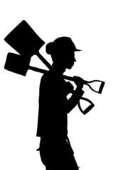 Silhouette of a Construction builder worker