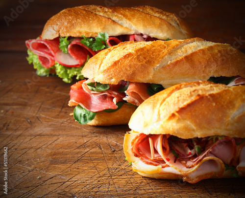 Assorted delicious baguette sandwiches