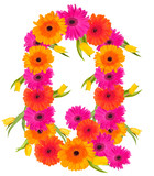 Q, flower alphabet isolated on white