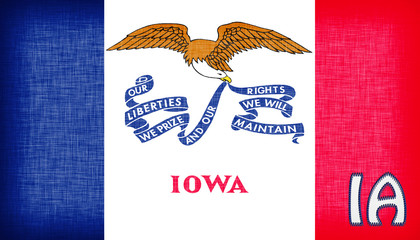 Linen flag of the US state of Iowa