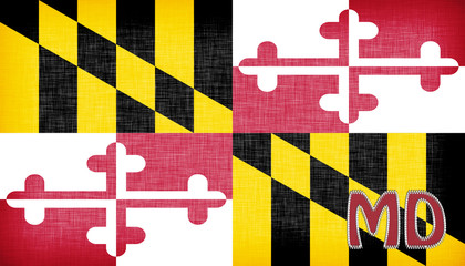 Linen flag of the US state of Maryland