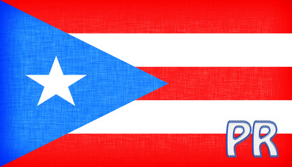Linen flag of the US state of Puerto Rico