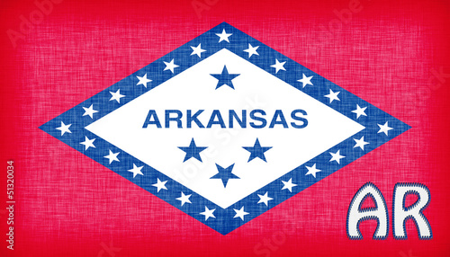 Linen flag of the US state of Arkansas