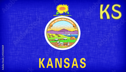 Linen flag of the US state of Kansas