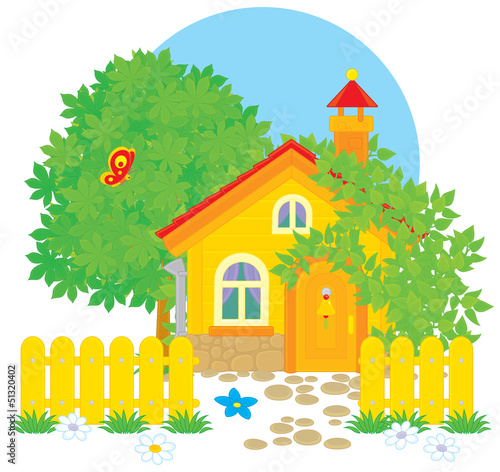 Foto op Canvas Boerderij Village house