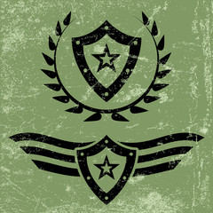 Military style grunge emblems
