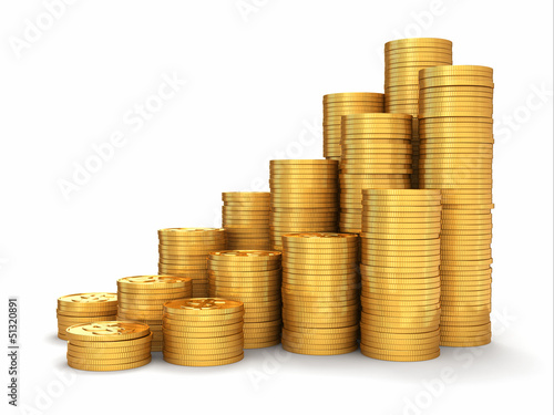 Wealth. Pyramid from gold coins on white background.