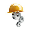 machine gear construction helmet on a white background