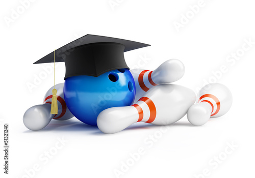 school bowling isolated on a white background