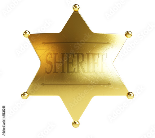 gold sheriff's badge on a white background