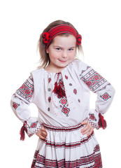 Pretty smile child with ukrainian costume