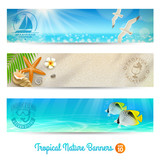 Fototapety Travel and vacation vector banners with tropical natures