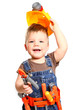 Happy little boy in an orange helmet and tools on a white backgr