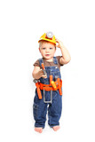 Cute little boy in an orange helmet and tools on a white backgro