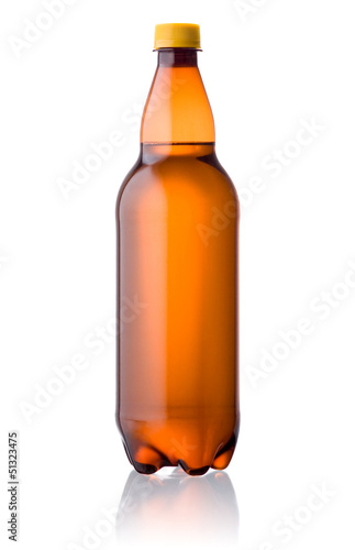 Brown plastic bottle of beer isolated on a white background
