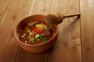 Traditional Bulgarian soup chorba.