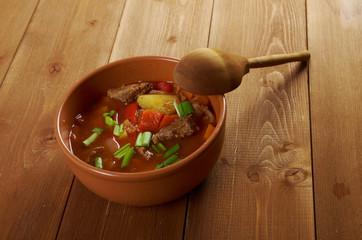 Traditional Bulgarian soup chorba.