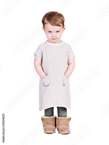 Cute Infant in Dress on White Background