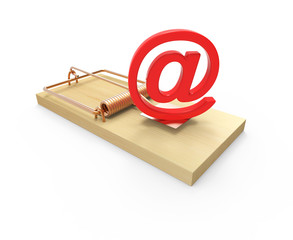 Red email symbol on mousetrap