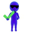 3d small person with positive symbol poster