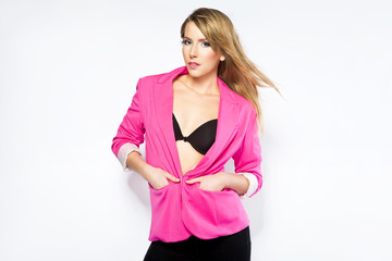 beautiful young blonde woman wearing casual clothes pink jacket