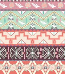 Seamless pastel aztec pattern with birds and roses