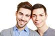 Zwei glückliche männliche Teenager