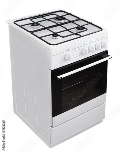 White gas cooker isolated on white with clipping path