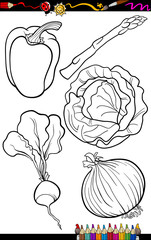 cartoon vegetables set for coloring book