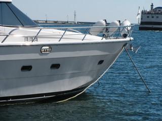bowsprit of luxury speed boat in seaport