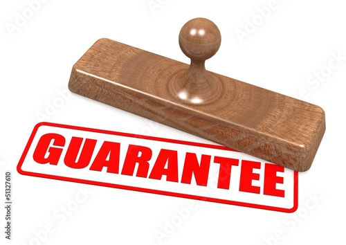 Guarantee word on wooden stamp