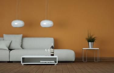 Sofa vor orangener Wand
