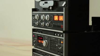Retro Audio tape recorder, tilt shot, slow motion