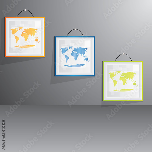 Vector color picture set on wall