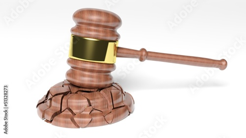 Broken Judge's Gavel over white background