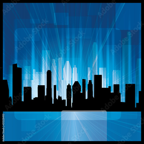 Vector blue City Silhouette brochure - background design