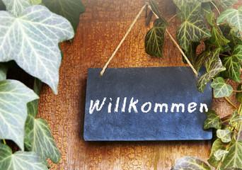 """Schild """"Willkommen"""""""