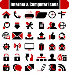 Intenet & Computers red & black Icons