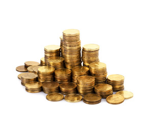 The stack of gold coins