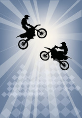 two jumping motorcyclist silhouettes