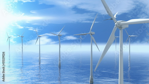 beautiful seagull flies between the wind turbines