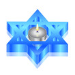 Vector illustration of star of David with candle